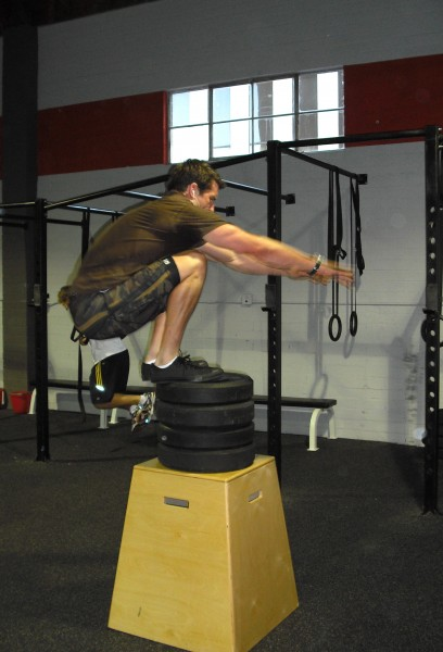 """Leapers rule! Adam Towle (a.k.a., """"G.I. Joe"""") clearing 46"""" jumps 55 times in a recent WOD."""