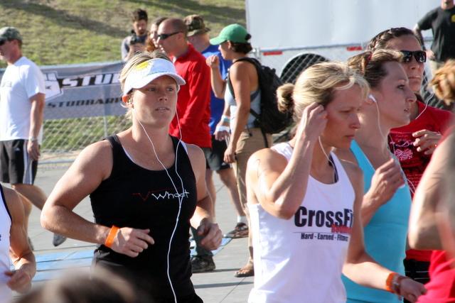 Michele tackling the 7k run