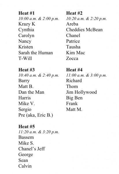 Invictus Athletes' Challenge Heat Assignments