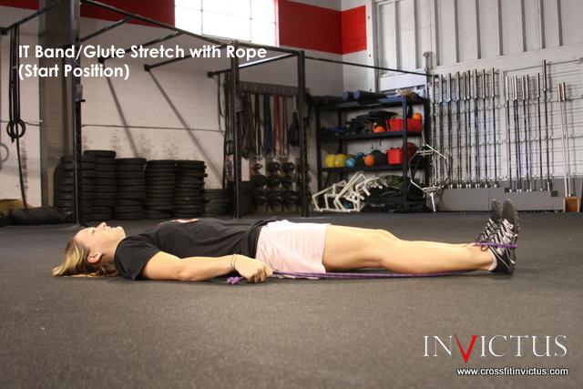Glute Stretch with Rope by CrossFit Invictus San Diego