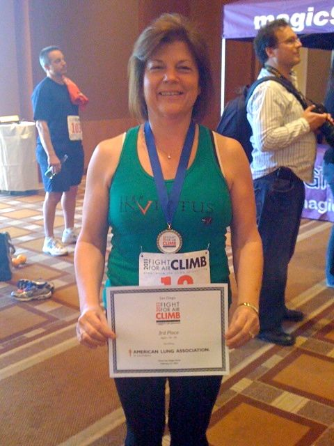 Krazy K of Invictus Fitness third place in Fight for Air Climb