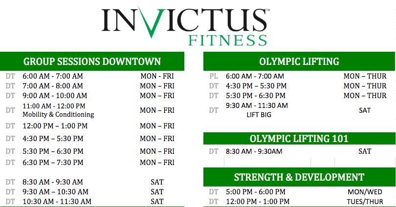 Invictus Schedule v3a
