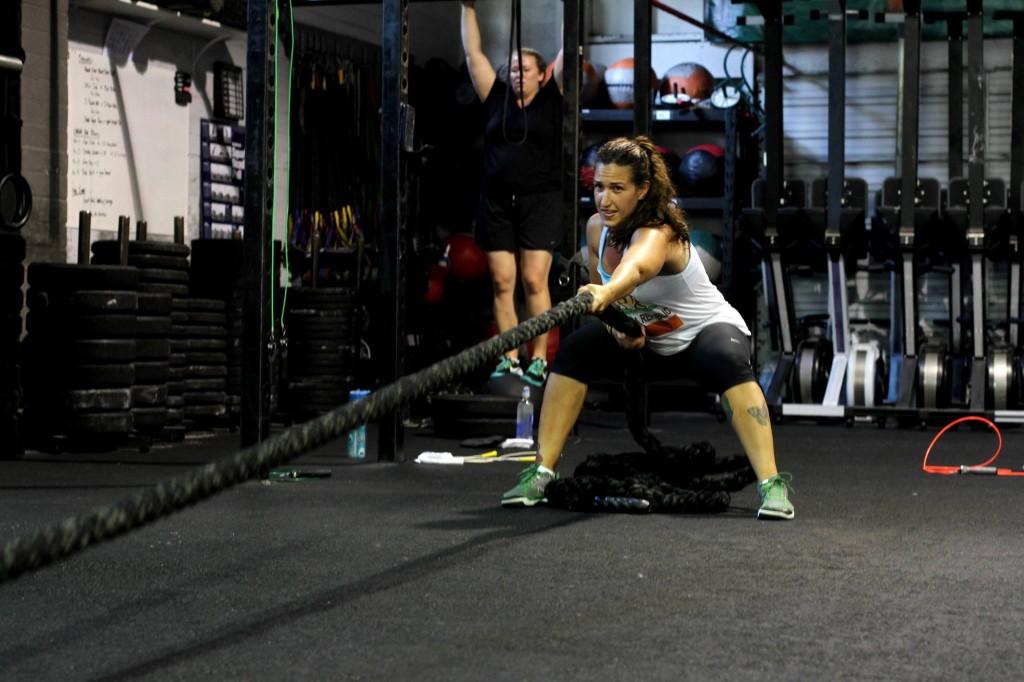 Kat Humphus Sled Pulls at CrossFit Invictus in San Diego