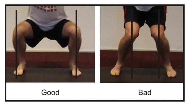 đầu gối hướng vào trong khi squat